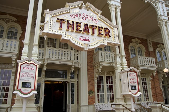 Town Square Theater - The main entrance with separate wait time clocks for both the Princesses and Mickey meet and greets
