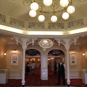 4 of 41: Town Square Theater - The lobby area, Princesses to the left and Mickey Mouse to the right