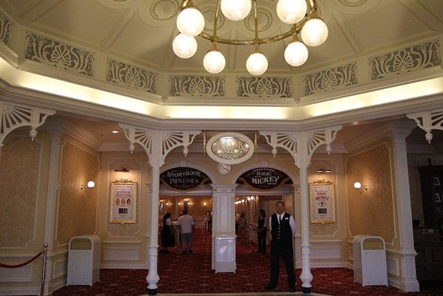 Town Square Theater - The lobby area, Princesses to the left and Mickey Mouse to the right
