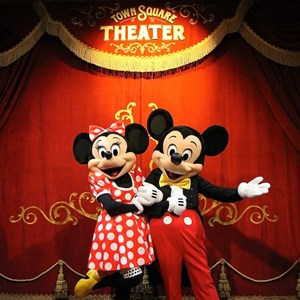 28 of 41: Town Square Theater - The photo location, with Mickey and Minnie Mouse