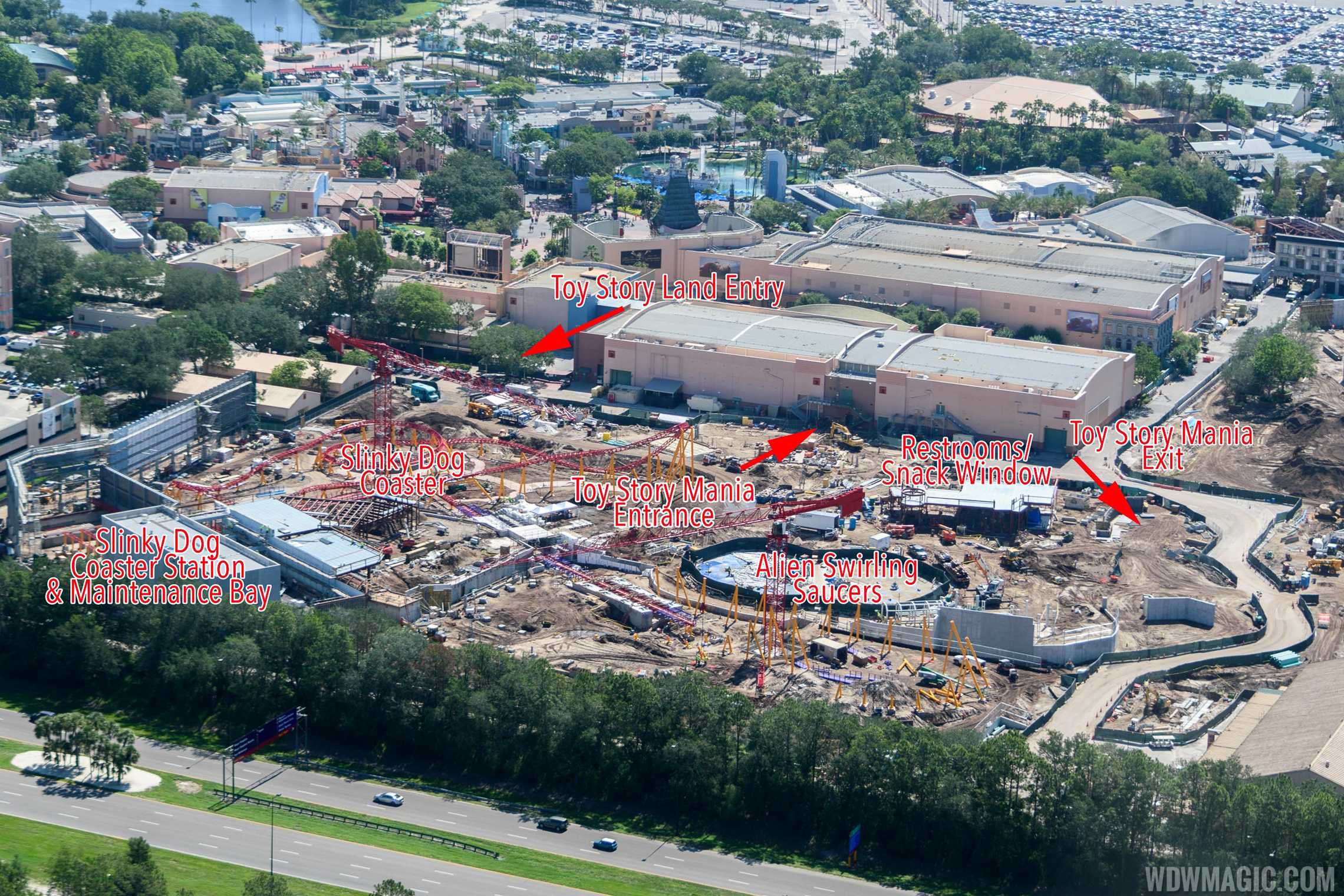 Annotated aerial view of Toy Story Land under construction