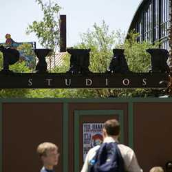 More work on the PIXAR sign at the entry to Pixar Place