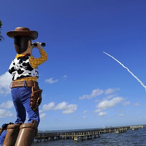 1 of 1: Toy Story Mania - Woody visits the Cape to see Buzz head to Space in the Space Shuttle