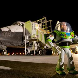 Buzz Lightyear and Space Shuttle Discovery