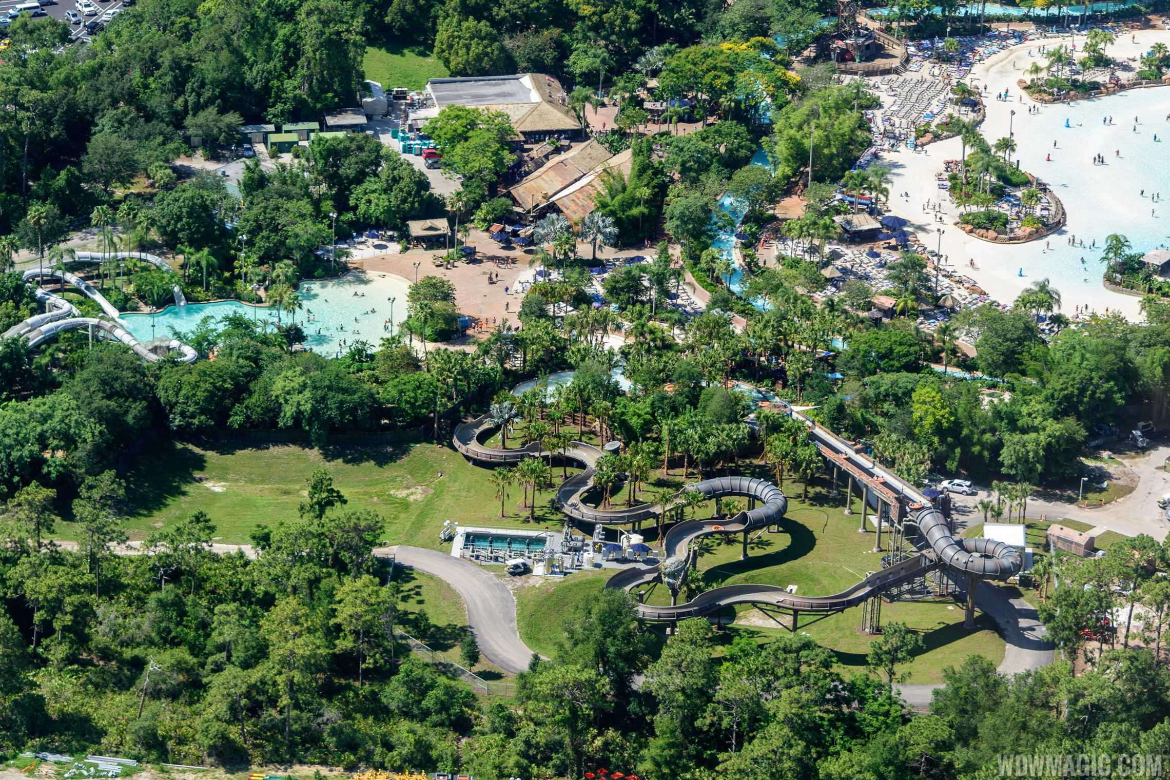 Aerial view of Crush n Gusher and Miss Adventure Falls at Typhoon Lagoon