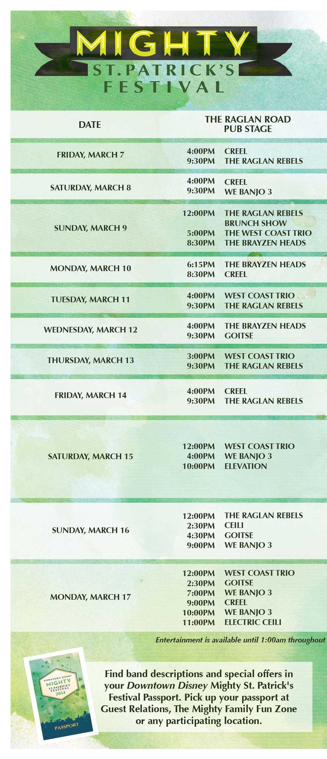 Mighty St. Patricks Festival times guide