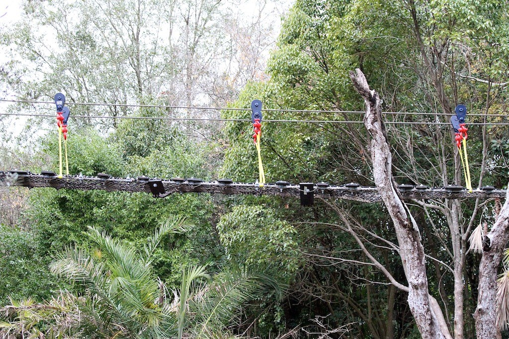Rope bridge installation and camp buildings