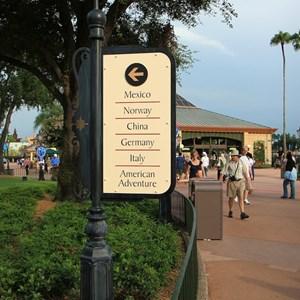 1 of 6: World Showcase - New directional signage in World Showcase