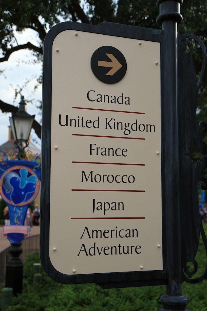 New directional signage in World Showcase