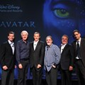 AVATAR land at Disney's Animal Kingdom - From left: Tom Staggs, Chairman, Walt Disney Parks and Resorts; James Cameron, award-winning director of AVATAR; Bob Iger, CEO, The Walt Disney Company; Jon Landau, producer of AVATAR; and Jim Gianopulos and Tom Rothman, Fox Filmed Entertainment chairmen; announce an exclusive agreement to create AVATAR-themed lands at Disney parks