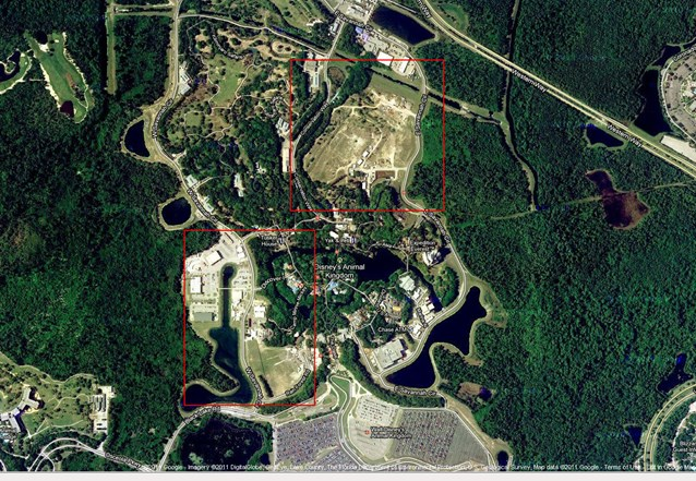 AVATAR land at Disney's Animal Kingdom - Satellite view of Animal Kingdom, with the north expansion pad and the western expansion pad boxed in red