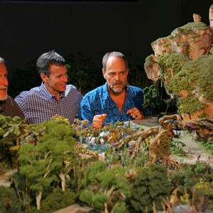 4 of 4: AVATAR land at Disney's Animal Kingdom - AVATAR project model with Joe Rohde, Tom Staggs and James Cameron