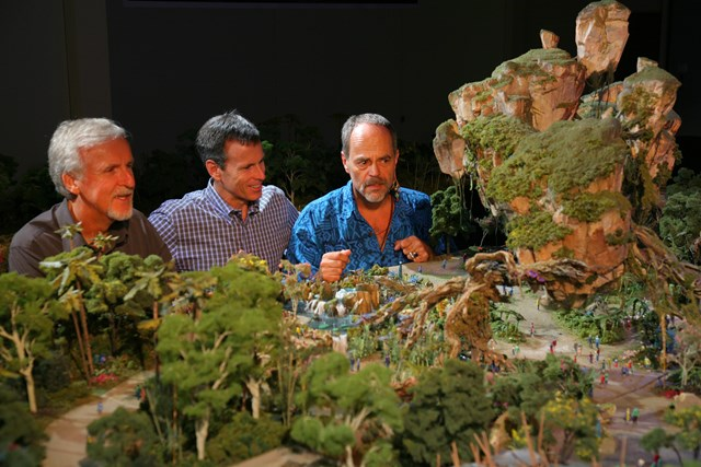 AVATAR project model with Joe Rohde, Tom Staggs and James Cameron