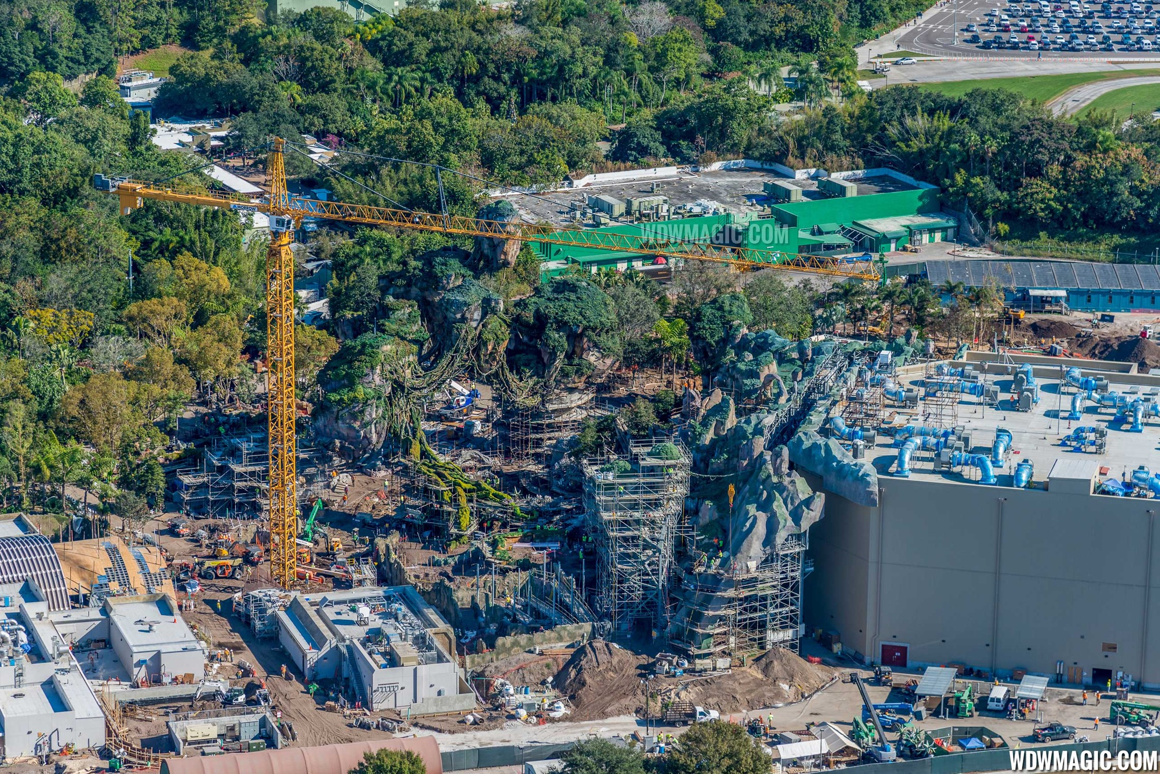 Aerial views of 'Pandora - The World of Avatar' under construction