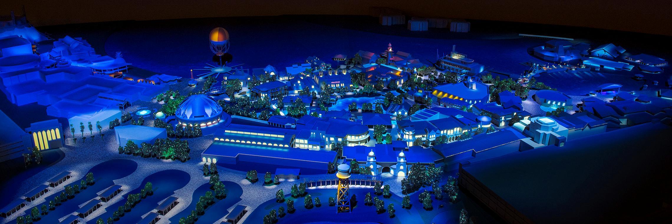 Disney Springs nighttime view concept art