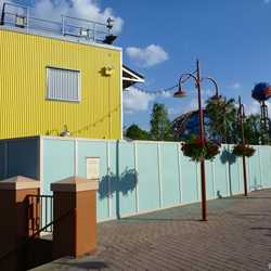 Construction walls up in former Pleasure Island area