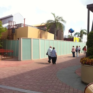 2 of 3: Disney Springs - Disney Springs construction walls around more of Pleasure Island