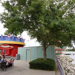 Disney Springs construction walls for Pleasure Island bypass bridge