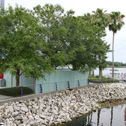 Disney Springs construction walls for Pleasure Island bypass bridge