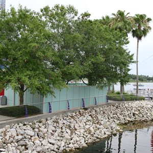 4 of 5: Disney Springs - Disney Springs construction walls for Pleasure Island bypass bridge
