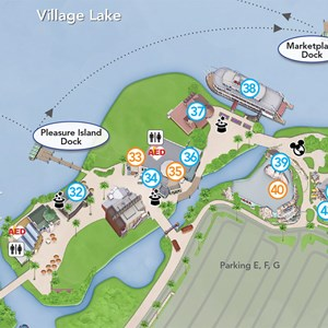 1 of 3: Disney Springs - Updated Downtown Disney guide map featuring Pleasure Island demolition