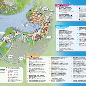 2 of 3: Disney Springs - Updated Downtown Disney guide map featuring Pleasure Island demolition