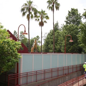 2 of 13: Disney Springs - Disney Springs construction site on Pleasure Island - demolition crews entering the Comedy Warehouse area