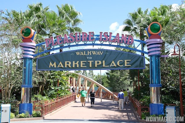 New signage at the entrance of Pleasure Island directs guests to the Marketplace