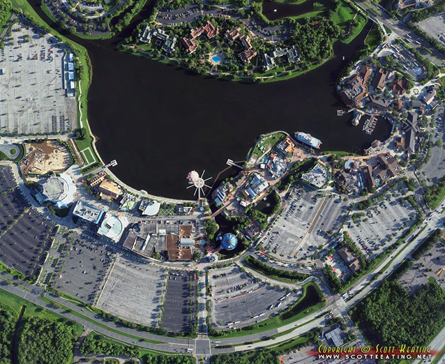 Disney Springs - Disney Springs construction - aerial view July 2013