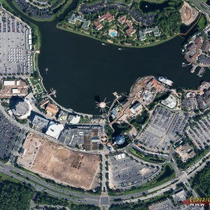 1 of 2: Disney Springs - Disney Springs construction - aerial view October 2013