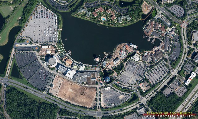 Disney Springs - Disney Springs construction - aerial view October 2013