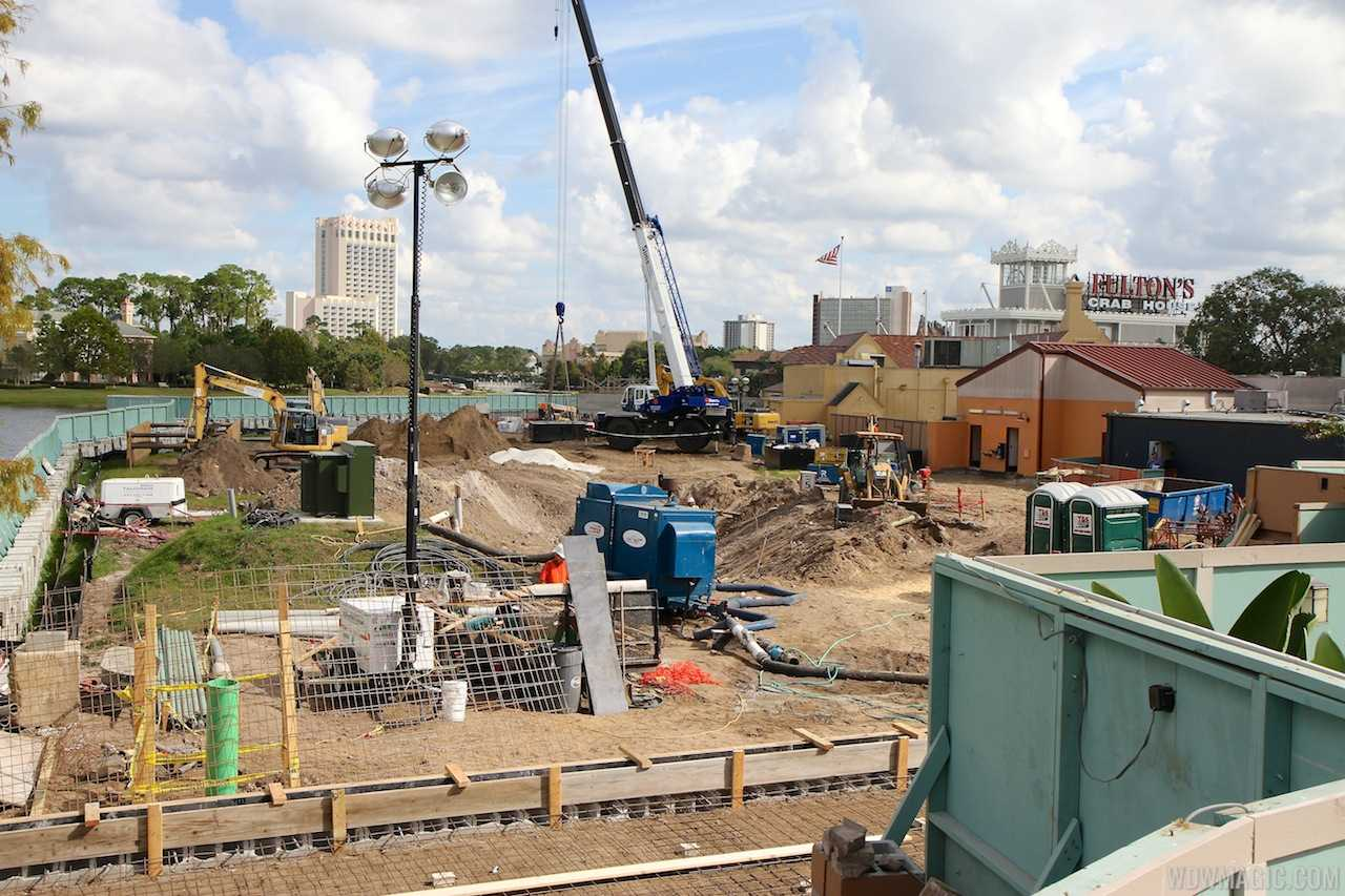 New Disney Springs construction on the former Motion and Rock and Roll Beach Club site at Pleasure Island