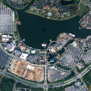1 of 2: Disney Springs - Disney Springs West Side parking garage construction - Aerial view