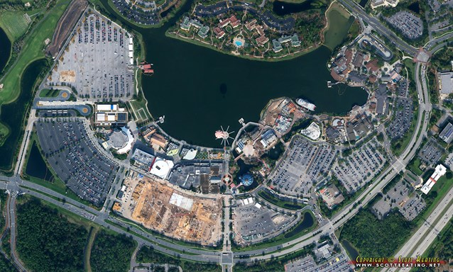Disney Springs - Disney Springs West Side parking garage construction - Aerial view