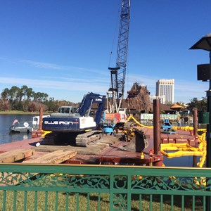 1 of 2: Disney Springs - Marketplace Causeway construction cranes