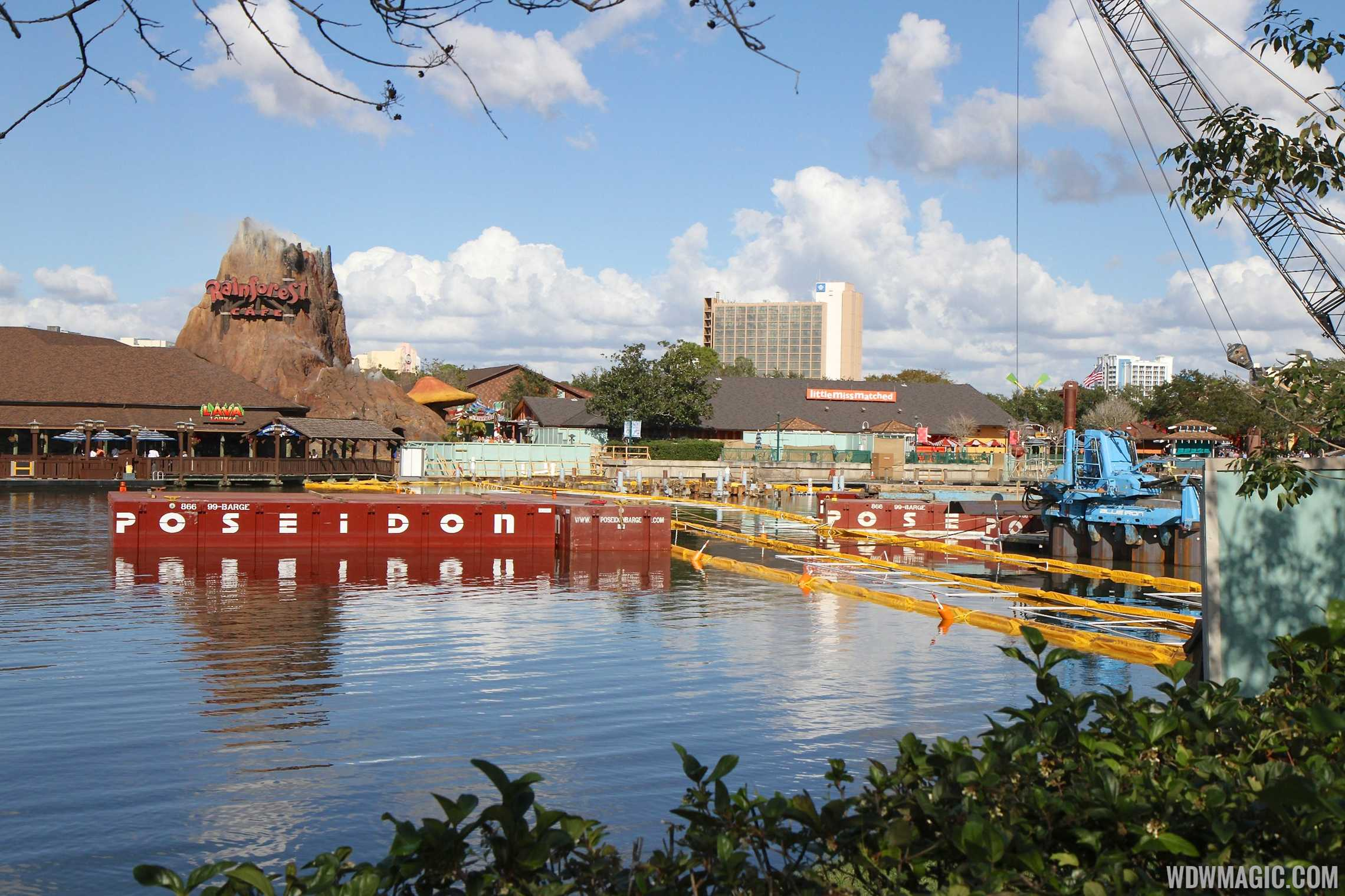 Construction equipment working on the Disney Springs Marketplace Causeway