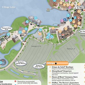 1 of 1: Disney Springs - Map showing lot E F G parking lot closures