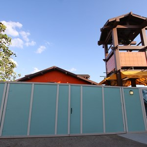 2 of 9: Disney Springs - Construction walls up around Pollo Campero and parts of parking lot E, F, G