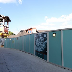 3 of 9: Disney Springs - Construction walls up around Pollo Campero and parts of parking lot E, F, G