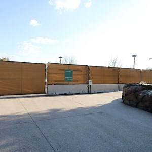 5 of 9: Disney Springs - Construction walls up around Pollo Campero and parts of parking lot E, F, G