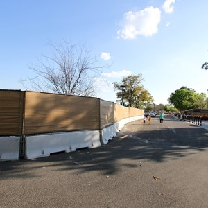 7 of 9: Disney Springs - Construction walls up around Pollo Campero and parts of parking lot E, F, G