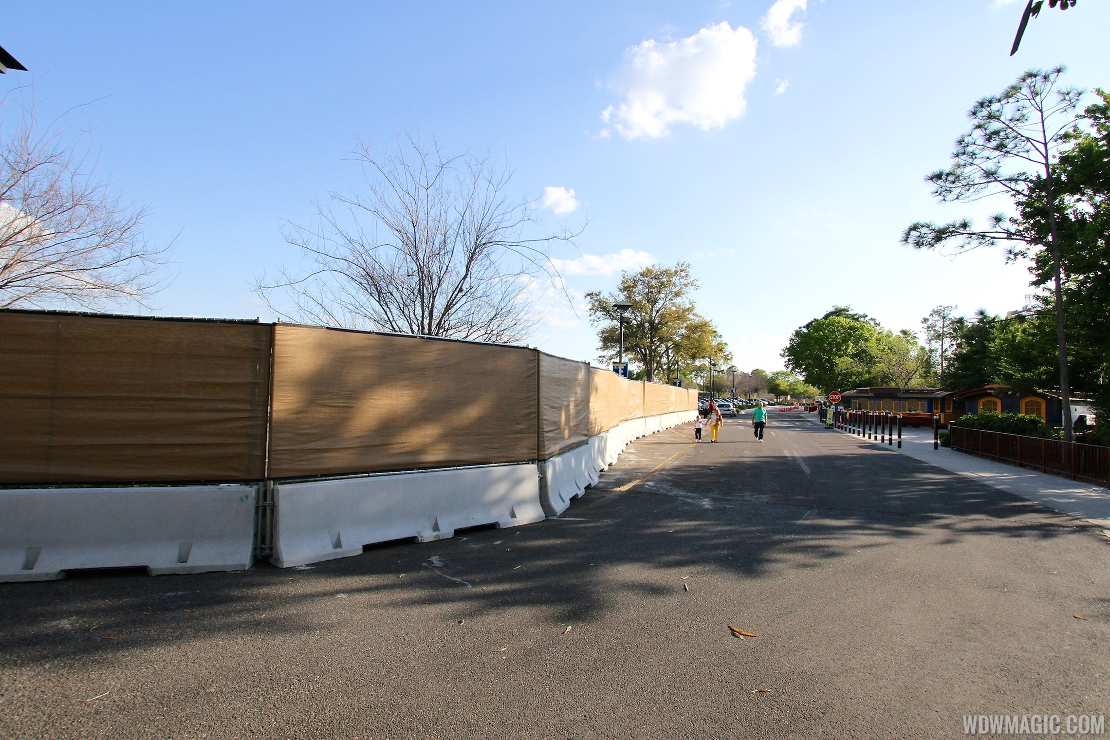 Construction walls up around Pollo Campero and parts of parking lot E, F, G