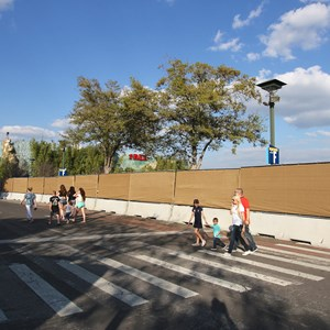 8 of 9: Disney Springs - Construction walls up around Pollo Campero and parts of parking lot E, F, G