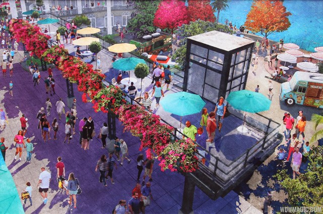 High Line concept art - shown with Food Truck Park