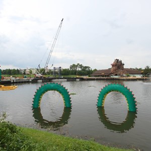 1 of 4: Disney Springs - Marketplace Causeway construction and fountain