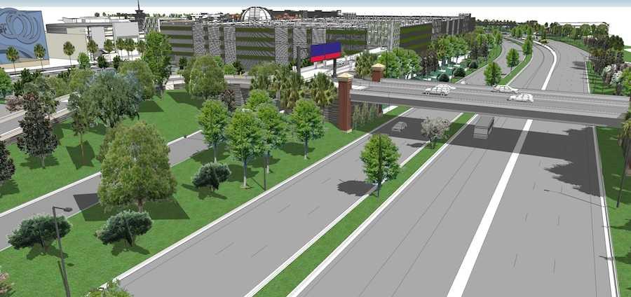Disney Springs West Side parking garage and I-4 bridge concept art