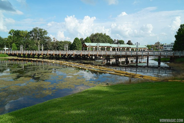 New Disney Springs Marketplace boat dock and bridge to Saratoga Spring