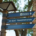 Disney Springs - Marketplace to Saratoga Springs bridge and boat dock - Signage to the bridge