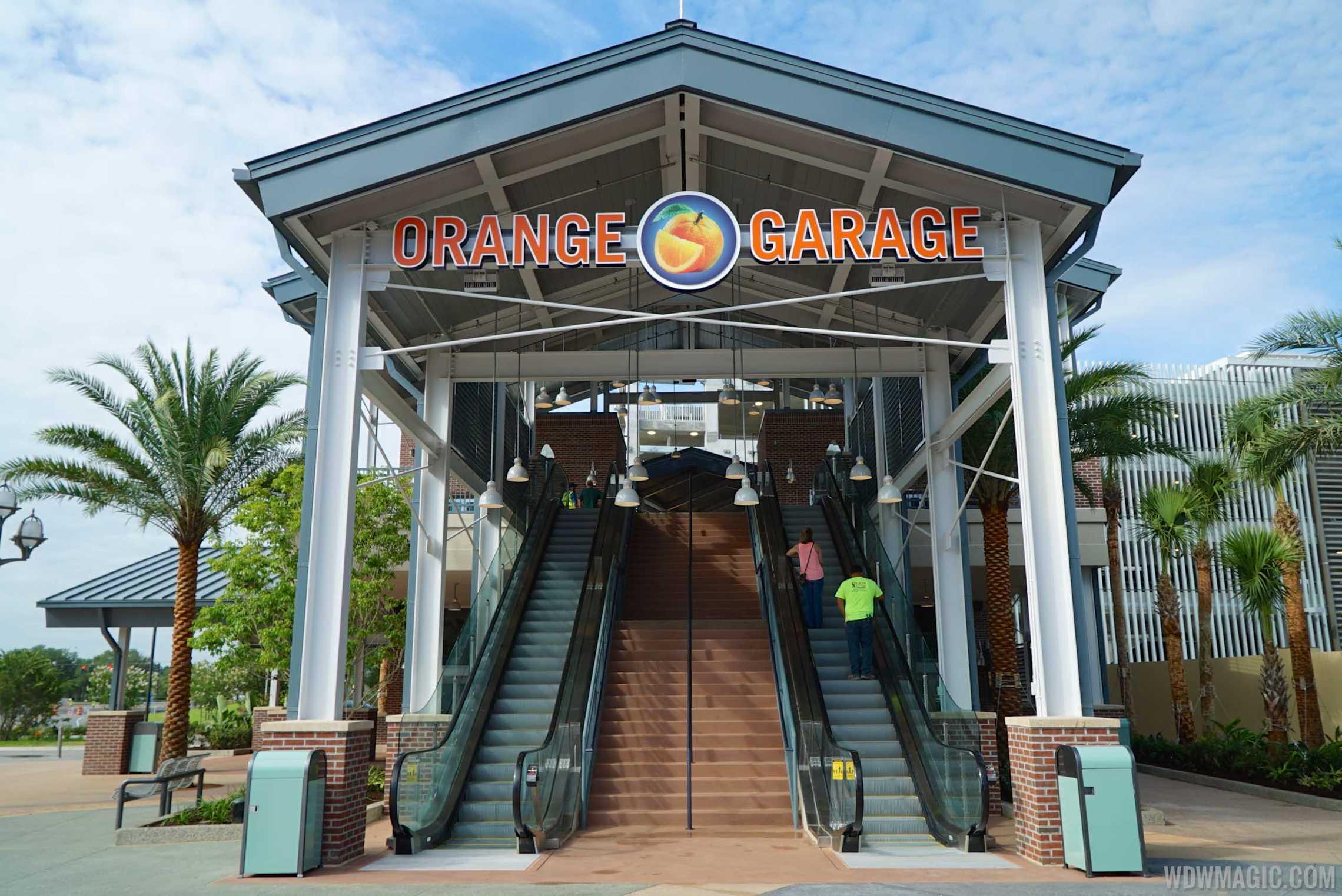 Disney Springs West Side Orange Parking Garage connector opening
