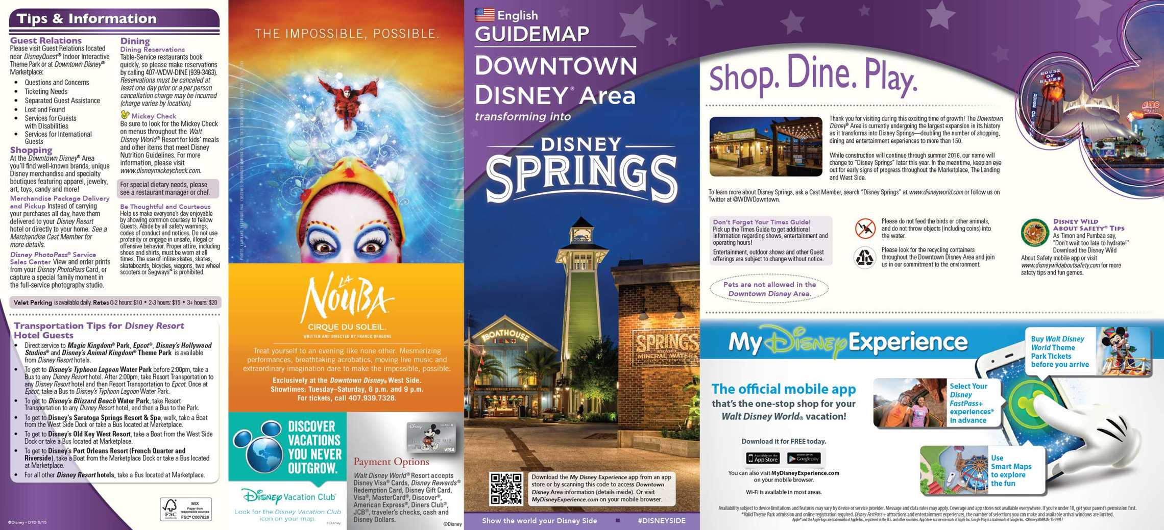 Disney Springs on the front cover of Downtown Disney Guide Map